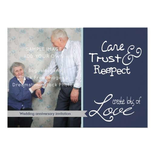 Cute wedding anniversary photo love trust invites