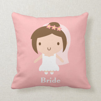 Cute Wedding Bride Girl in White Gown Bedroom Cushion