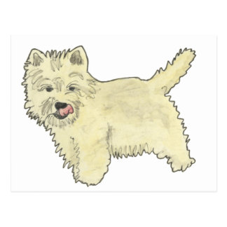 Cute West Highland Terrier Funny Dog Art Design Postcard
