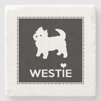 Cute West Highland Terrier - I Love Westies Stone Coaster