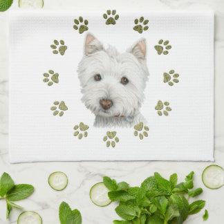 Cute West Highland White Terrier Dog & Paw Prints Tea Towel