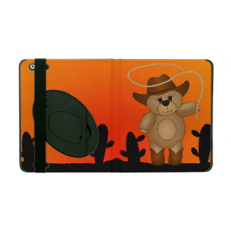 Cute Western Cowboy Teddy Bear Cartoon Mascot iPad Covers