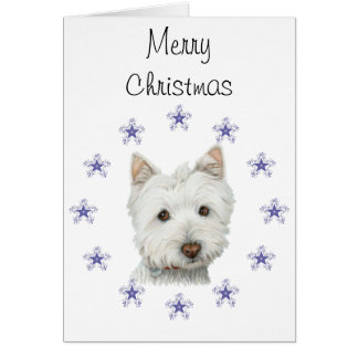Cute Westie Dog Art and Christmas Snowflakes Greeting Card