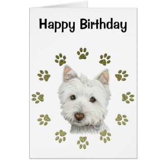 Cute Westie Dog Art and Paws Greeting Card