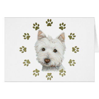 Cute Westie Dog Art and Paws Note Card