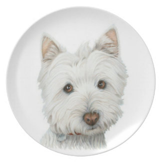 Cute Westie Dog Plate
