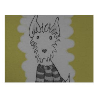 cute westie dog stationery postcard