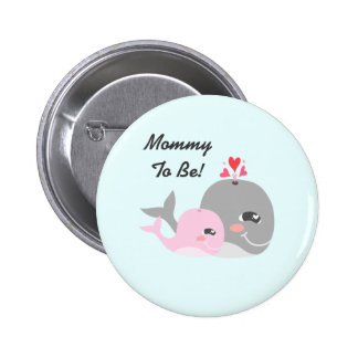 Cute Whale Girl Baby Shower 6 Cm Round Badge