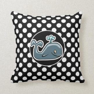 Cute Whale on Black and White Polka Dots Cushions