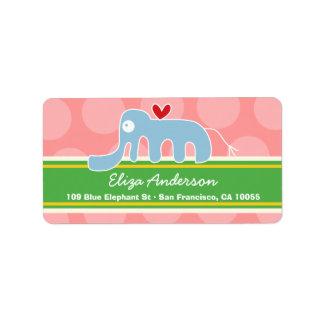 Cute Whimsical Cartoon Elephant Address Labels