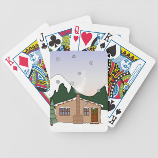 Cute Whimsical Country Cottage in Winter Scene Bicycle Playing Cards
