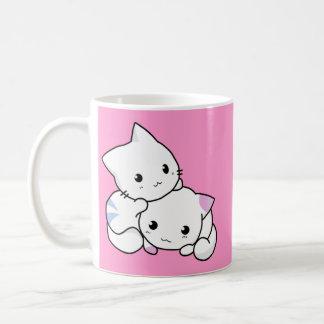 Cute white animated kittens basic white mug