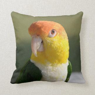 Cute White Bellied Caique Parrot Throw Pillow
