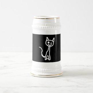 Cute White Cat Cartoon. On Black. Beer Steins