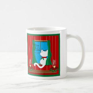 Cute White Cat Snowy Window Merry Christmas Mug