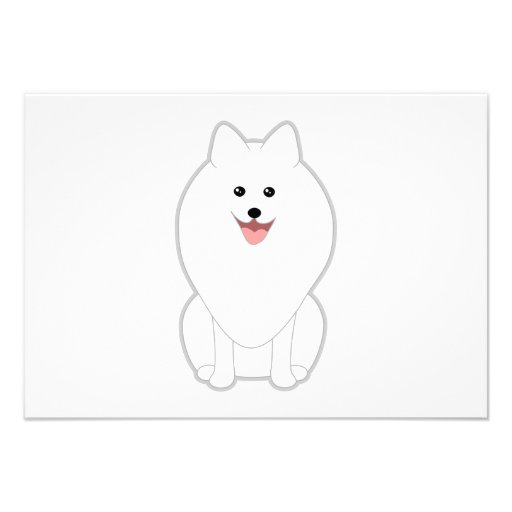 Cute White Dog. Spitz or Pomeranian. Custom Invite