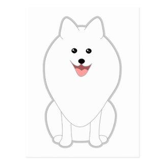 Cute White Dog. Spitz or Pomeranian. Postcards