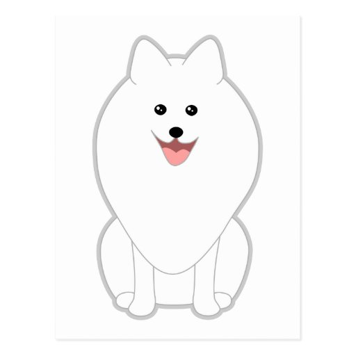 Cute White Dog. Spitz or Pomeranian. Postcards