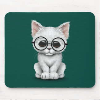 Cute White Kitten Cat with Eye Glasses teal Mouse Pad
