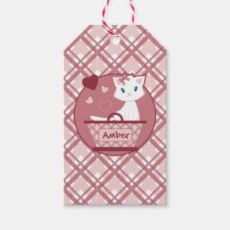 Cute white kitten in Pastel Pink Tartan Basket