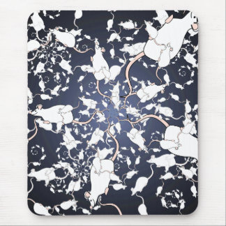 Cute White Mice. In Deep Space. Custom Mouse Pad