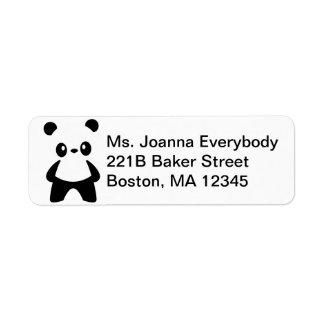 Cute White Negative Space Panda Return Address Label