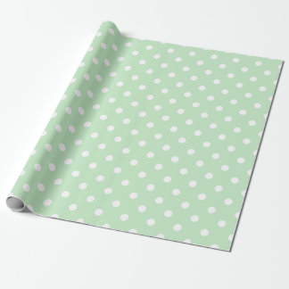 Cute White Polka Dots Pastel Green Baby Shower Wrapping Paper