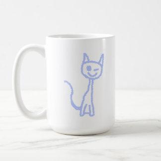 Cute winking cat. Blue. Basic White Mug