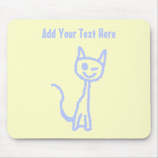 Cute winking cat. Blue. Mouse Pad