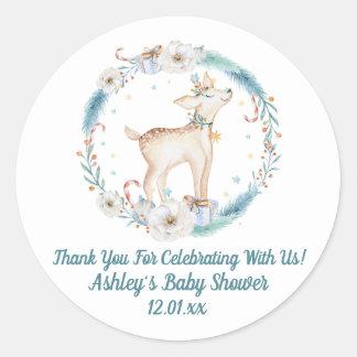 Cute Winter Woodland Baby Shower Classic Round Sticker