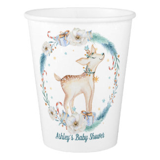 Cute Winter Woodland Baby Shower Paper Cup