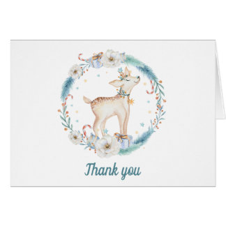 Cute Winter Woodland Baby Shower Thank You Card