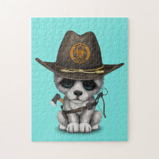 Cute Wolf Cub Zombie Hunter Jigsaw Puzzle