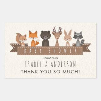 Cute Woodland Animals Baby Shower | Thank You Rectangular Sticker