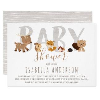 Cute Woodland Animals   Gender Neutral Baby Shower Card