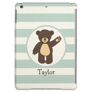 Cute Woodland Brown Bear; Sage Green Stripes iPad Air Cases