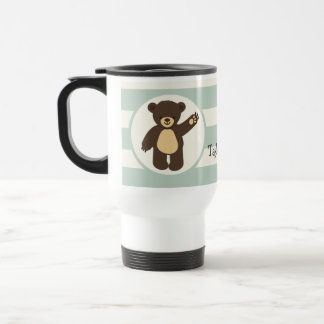 Cute Woodland Brown Bear; Sage Green Stripes Stainless Steel Travel Mug