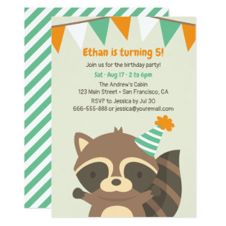 Cute Woodland Racoon Birthday Party Invitations