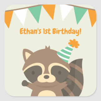 Cute Woodland Racoon Birthday Party Stickers