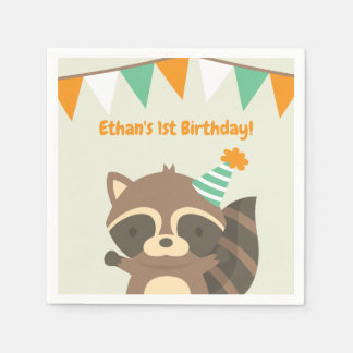 Cute Woodland Racoon Birthday Party Supplies Disposable Serviettes