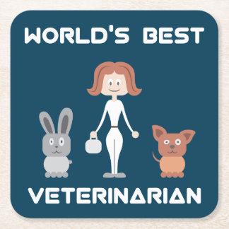 Cute World's Best Female Vet Square Paper Coaster