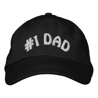 Cute Worlds Greatest Number One #1 Dad Embroidered Hats