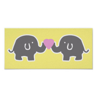 Cute Yellow And Grey Elephants With Pink Heart Poster