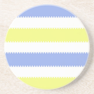 Cute Yellow and Purple Dots and Stripes Coaster