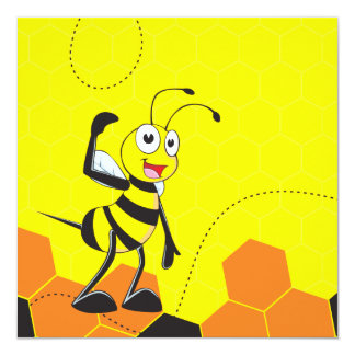 """Cute Yellow Bee Lovers Hugging Couple 5.25"""" Square Invitation Card"""