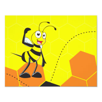 Cute Yellow Bee Lovers Hugging Couple Customized Announcement Cards