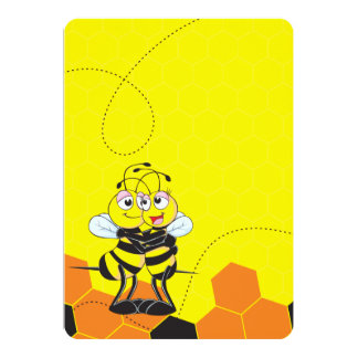 Cute Yellow Bee Lovers Hugging Couple Cards