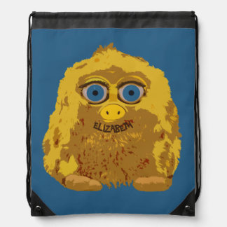 Cute Yellow Bigfoot With Big Blue Eyes Drawstring Bag