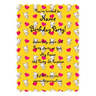 Cute yellow dog hearts pattern 5x7 paper invitation card
