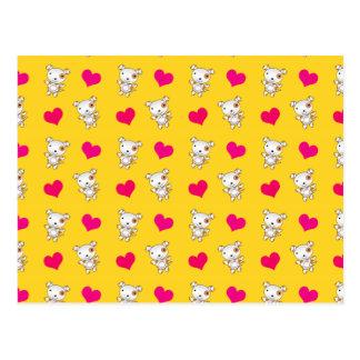Cute yellow dog hearts pattern postcard